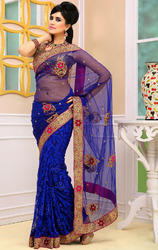 Navy+Blue+Color+Brasso+and+Net+Sarees+with+Blouse