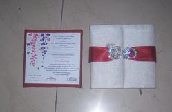 Fabric Covered Wedding Invitation Boxes With Brooches,insert