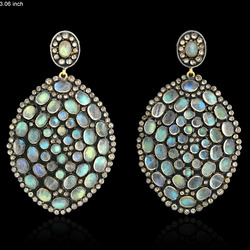 Pave Diamond Labrodorite Gemstone Dangle Earring