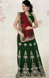 Maroon+and+Bottle+Green+Color+Net+and+Velvet+Lehenga+Saree