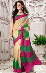 Beige+Green+and+Magenta+Art+Silk+Printed+Saree+with+Blouse