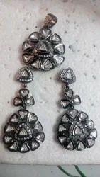 Polki Pendant Set in Sterling Silver