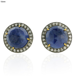 Pave Diamond Blue Sapphire Stud Earrings