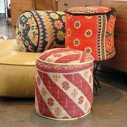 Vintage Kantha Ottomans