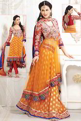 Orange Net Churidar Kameez with Dupatta