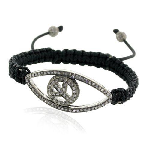Evil Eye Diamond Macrame Bracelet Jewelry
