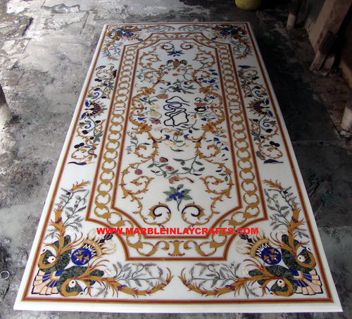 White Marble Inlay Table Tops   Marble Inlay Coffee Table Top Wholesale  Trader From Agra