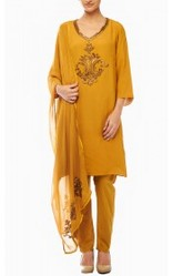 Mustard Color Salwar Kameez Dupatta With Beads And Sequin Wo