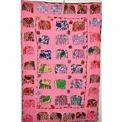 Elephant Patchwork Applique Kantha Quilt