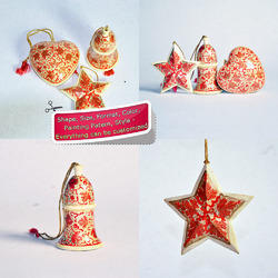 Hand Painted Christmas Ornaments - Set of Star Bell