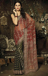 Black+and+Maroon+Color+Net+and+Viscose+Saree+with+Blouse