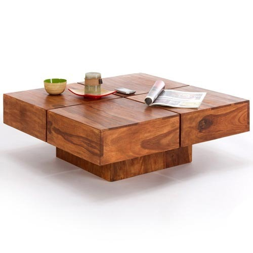 Wood dekor low height one legged coffee table pepperfry for Low coffee table wood