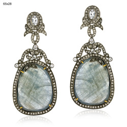 Designer Gemstones Pave Diamond Earrings