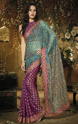 Purple+and+Blue+Color+Net+and+Viscose+Saree+with+Blouse