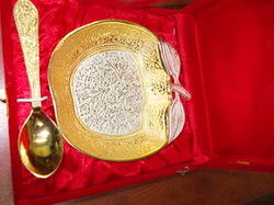 Gold and Silver Plated Apple Bowl with Spoon