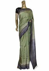 Moss Green Colour Tusar Saree