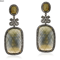 Antique Style Pave Diamond Gemstones Earrings