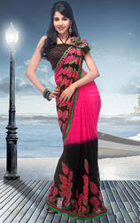 Black+and+Magenta+Faux+Georgette+Saree+with+Blouse