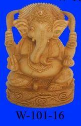 Wooden Carved Ganpati Statue