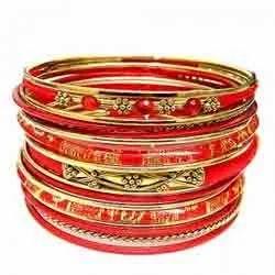 Golden Red Metal Bangles