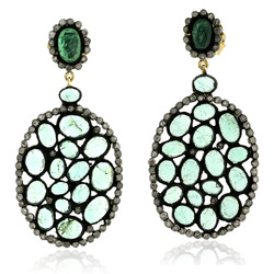 Pave Diamond Gemstone Dangle Earrings Jewelry
