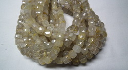 Golden Rutilated Quartz Faceted Cubes