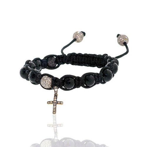 Diamond Charm Black Onyx Beaded Bracelet