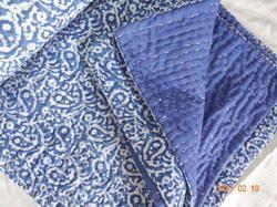 Indigo Blue Vintage Kantha Hand Quilt