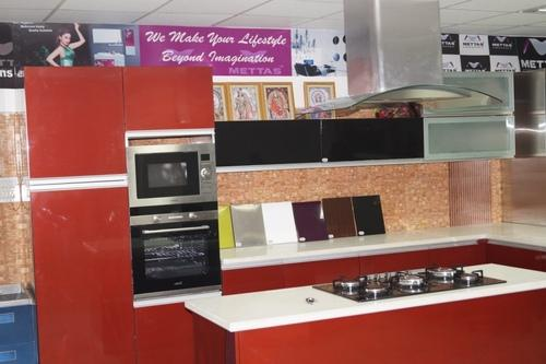 Stainless steel modular kitchen with microwave gyan for Kitchen tall unit design