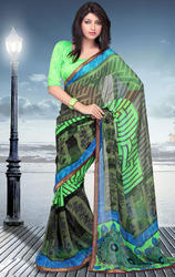 Black+and+Pista+Green+Faux+Georgette+Saree+with+Blouse