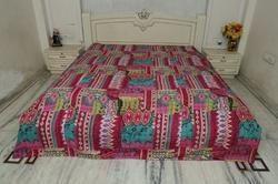 Kantha Bed Cover Multi Zik Zak Design