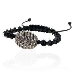 Diamond Silver Bead Macrame Bracelet