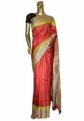 Red Color Silk Tussar Saree