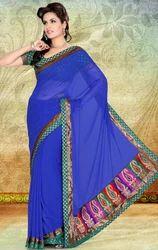 Blue+Color+Faux+Chiffon+Party+Wear+Saree