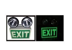 Emergency Light with Night Glow Signage Double Beam