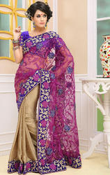 Dark+Gold+%26+Dark+Rani+Pink+Net+%26+Jacquard+Saree+with+Blouse
