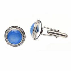 Silver Blue Chalcedony Cufflinks