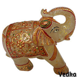 Aventurine Gemstone Good Luck Elephant Figurine Painting Art
