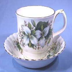 Gold and Floral Design Bone China Cups