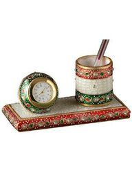 Marble Chowki Watch with Pen Holder