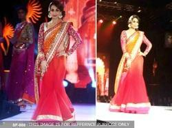 Orange With Pink Colour Party Wear Stylish Saree