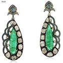 Emerald Gemstone Diamond Dangle Earrings