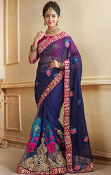 Navy+Blue+Color+Faux+Georgette+Designer+Sarees+with+Blouse