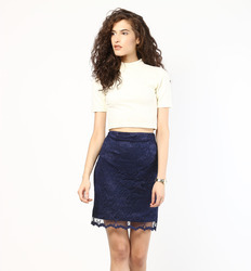 navy blue lace knee length skirt