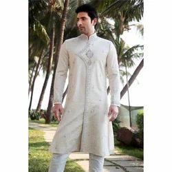 Impressive White Semi Sherwani