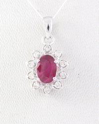 Ruby And Diamond 18K White Gold Pendent