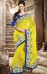 Lemon+Yellow+Color+Faux+Georgette+Saree+with+Blouse