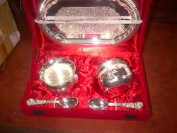 Silver Plated Tray with Dry Fruit Bowls