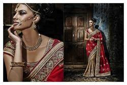 Red & Tan Georgette Jacquard Embroidery Saree