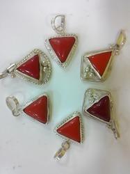 Coral White Metal Pendant